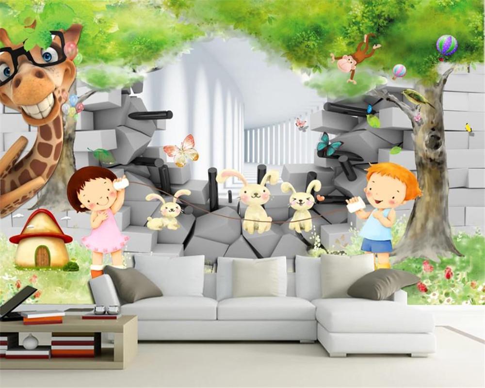 Personalizado dos desenhos animados de animais em 3D Wallpaper Estilo Europeu Kids Room Quarto Mural Sala 3D Wallpaper crianças do Cartoon de crianças bonitas