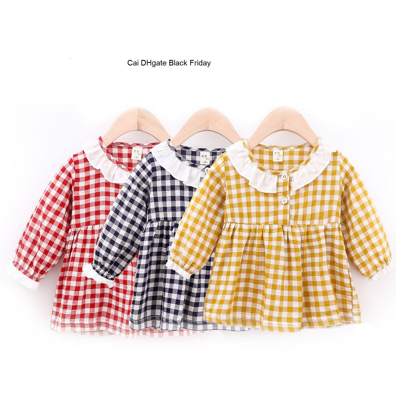 New Autumn Baby Girls Casual Dress Kids Cotton Plaid Long Sleeve Dresses Toddler Party Princess Sundress Newborn Girls Clothes