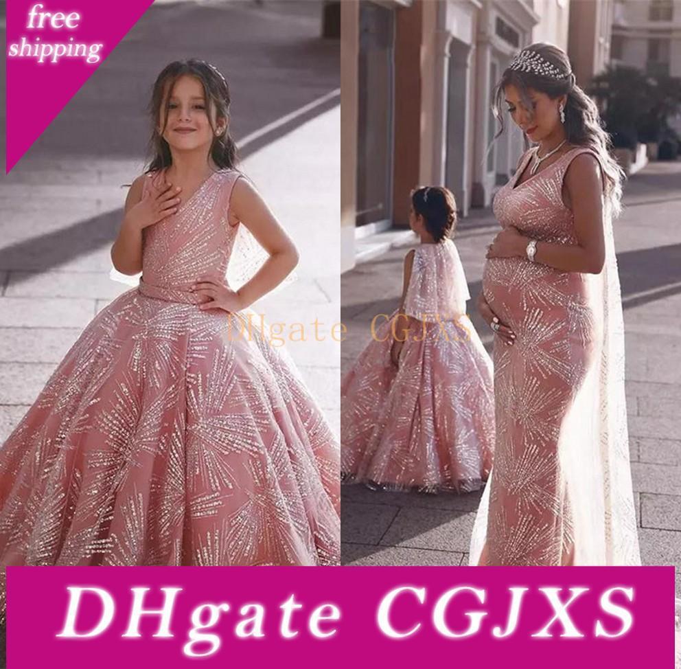 Glänzende rosa Blumen-Mädchen-Kleider für Hochzeiten 2020 Elegante Ballkleid Kinder-Festzug-Kleider Erstkommunion Kleid Und Schwangere Kleider