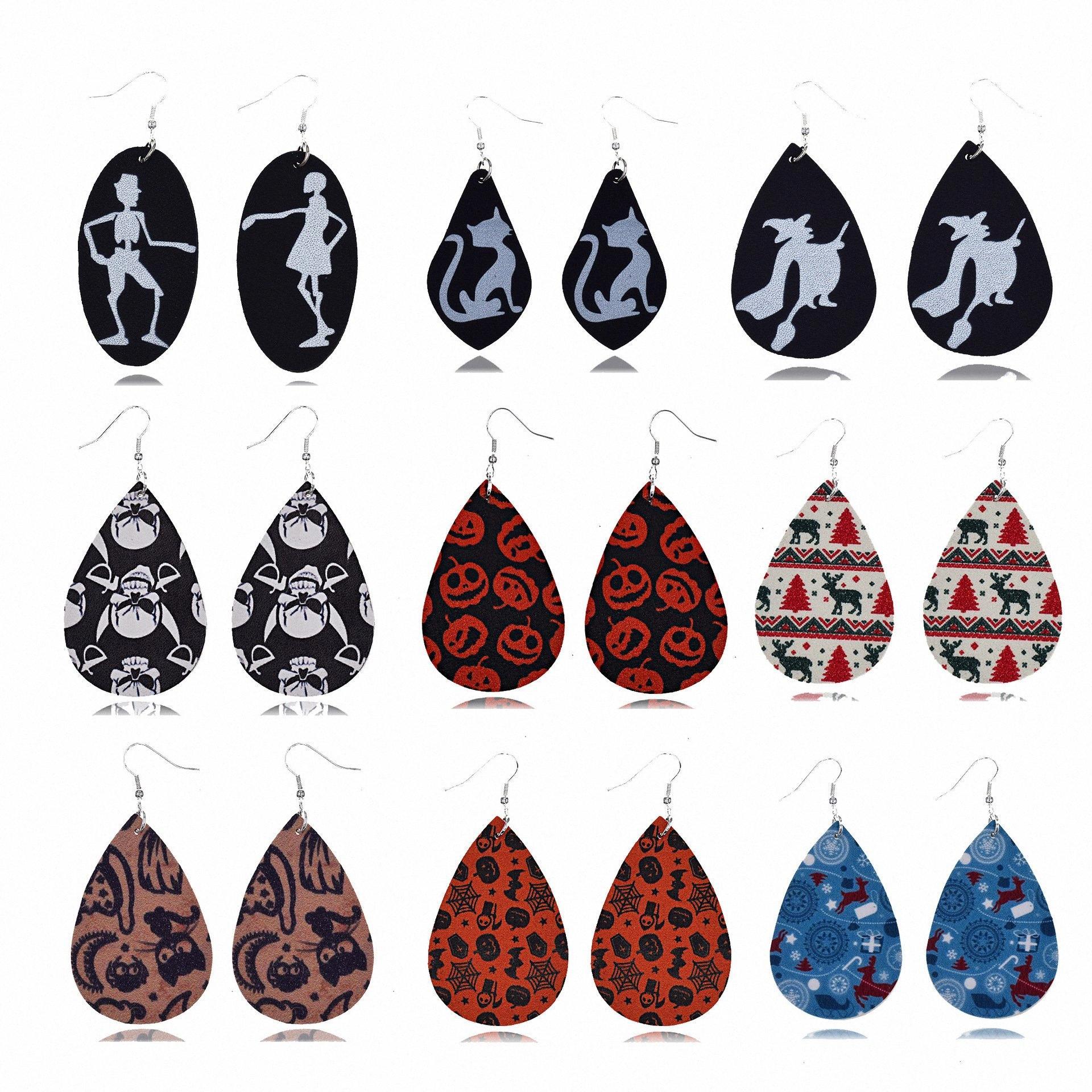 Weihnachten Leder Ohrringe Wassertropfenform Ohrringe für Frauen Schädel Weihnachten Halloween dangler trendige Mode eardrop HOT Verkauf A682 #