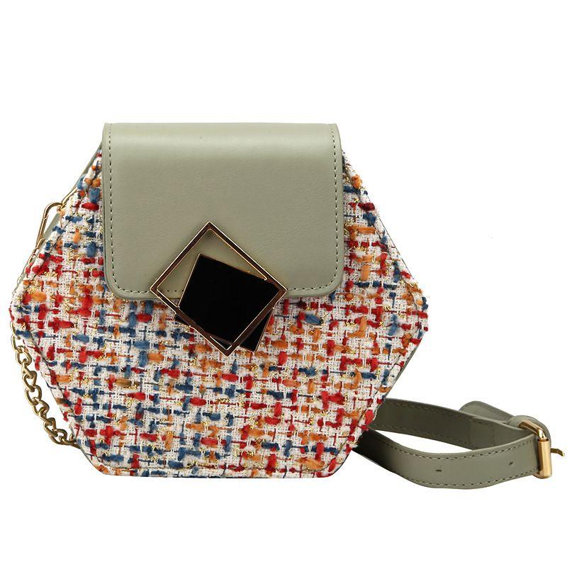 Mode Pentagon Leder Umhängetasche Tasche Trendy Partei Schulter-Beutel-Art- und Kontrast-Farben-Plaid-Day-Beutel-eleganter Frauen-Geldbeutel