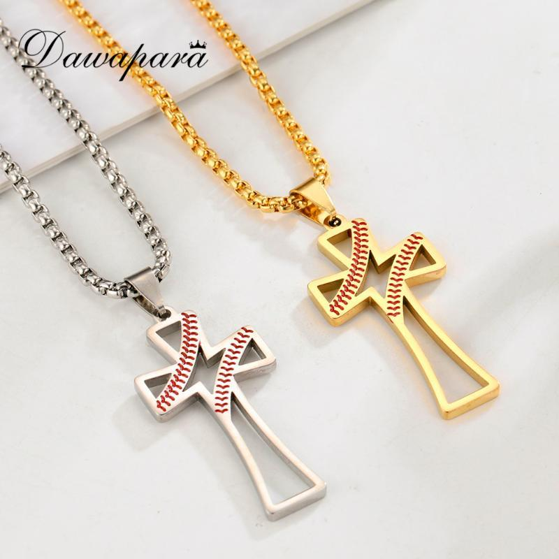 Dawapara Vintage Hollow Latin Cross Men Necklace Baseball Pattern Pendant Necklaces Golden Stainless Steel Jewelry