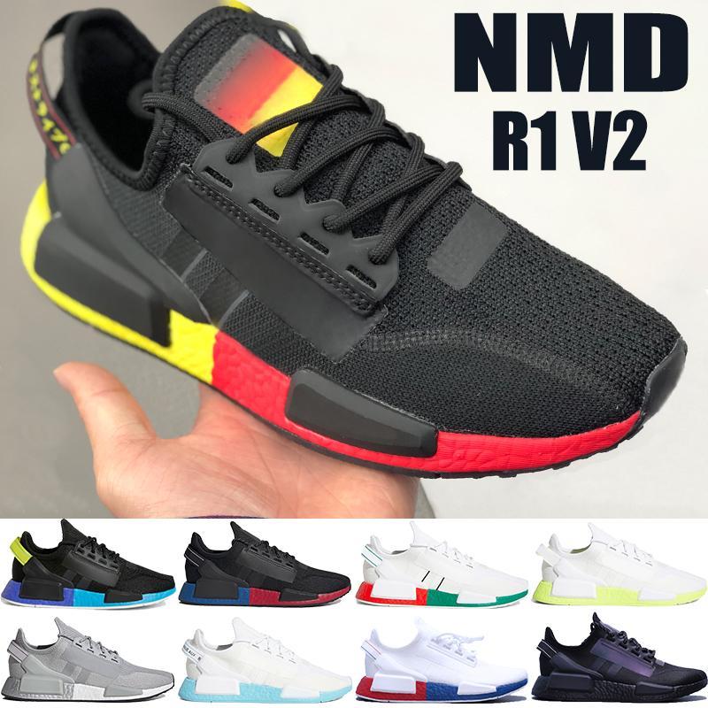 미국 5-11 핵심 카본 블랙 레드 클라우드 흰색 네온 오렌지 멕시코 시티 남성 운동화 여성 트레이너 신발을 실행하는 새로운 NMD R1 V2
