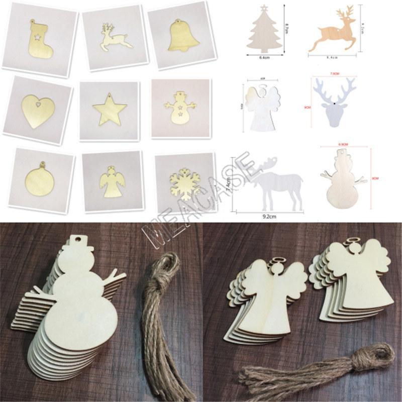 D83104 decoración de madera de Navidad muñeco de nieve Crafts media de la Navidad Elk Ángel del pedazo de madera Inicio de Navidad decoración del árbol de pequeño colgante