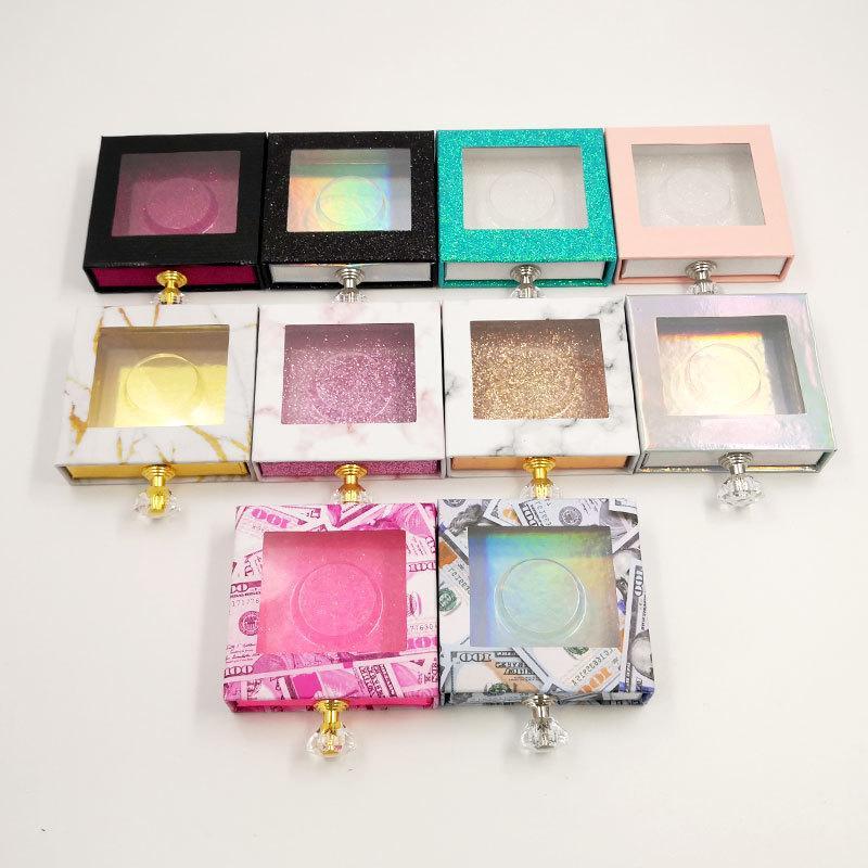 Wholesales vident cristal poignée NOUVEAU boîte d'emballage pour carton couleur boîte de papier d'emballage paquet cil avec plateau pour boîte 3D 5D 25mm Cils