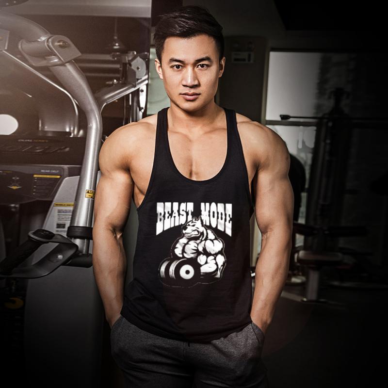 Spor erkek kolsuz kas tipi gevşek eğitim vücut geliştirme tarzı moda markası artı yağ beden yelek yelek I şeklinde