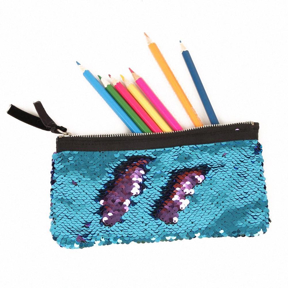 Sacs de crayon étudiants chaud sirène de crayon cas enveloppe d'embrayage sac poissons de Scales boîte stationnaire 15colors uRLf #