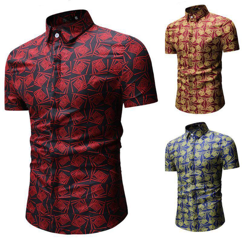 Мужские повседневные рубашки 2021 летние простые бизнес мода кнопка плед с коротким рукавом отворотный пляж верхняя рубашка мужчины formall0318