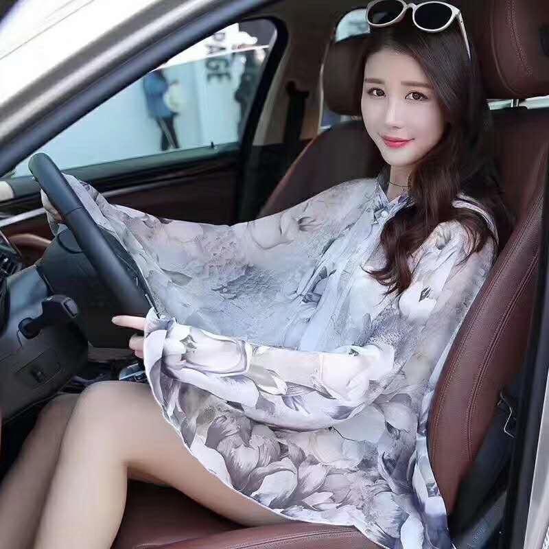 y5Kex verão nova flor bordados vestuário chiffon xaile de condução montando roupas de seda multi-funcional protetor solar manga bordada sunscree
