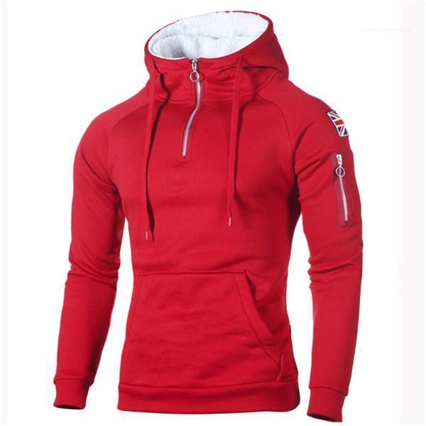 Solide Couleur Homme Vêtements 2020 Hommes Designer Zipper manches longues Sweats à capuche Drapeau Tops Hip Hop Sweat