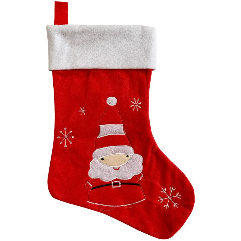 christmas decorative socks high quality christmas decorations online Embroidered Velvet non-woven fabric Socks three styles for sale