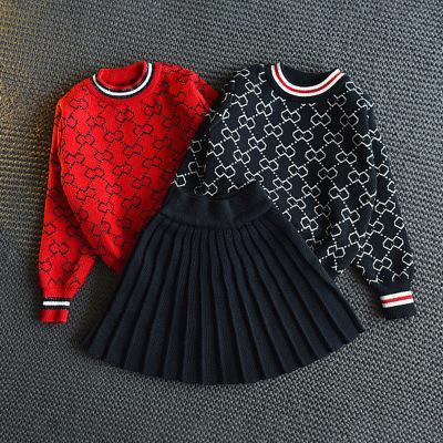Niñas 2020FW Los nuevos juegos de moda las niñas juego de dos piezas tapa del suéter + plisado Minifalda de moda nuevos geométricas Juegos de impresión niñas sistemas de la falda Casual