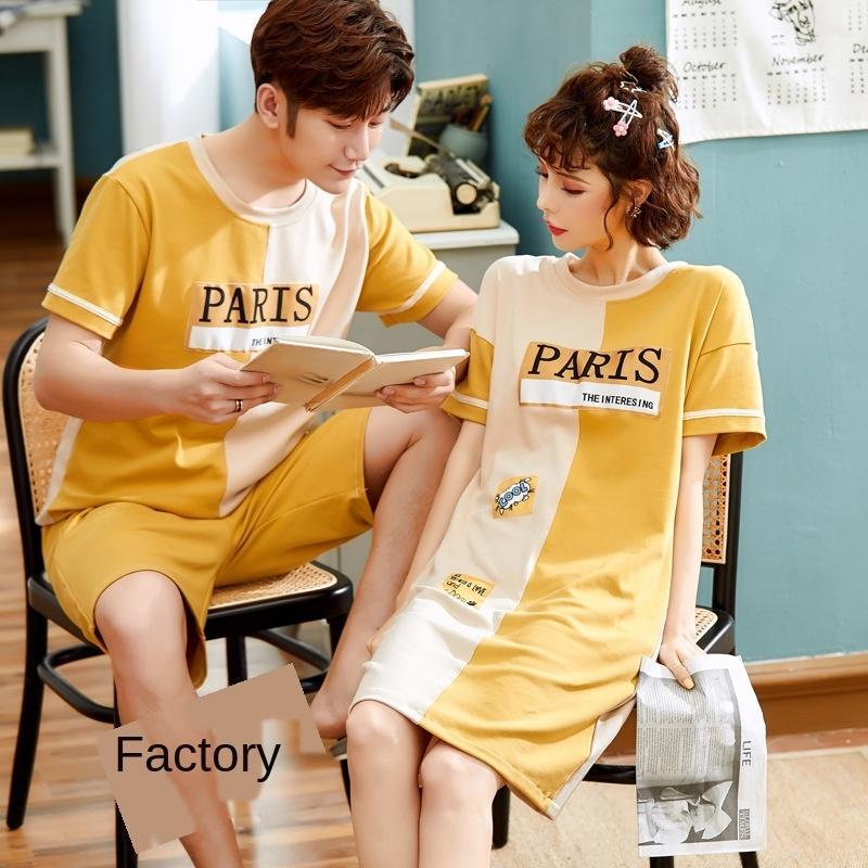 Basit çift ev 2020 Yaz ev giysileri pijama kısa kadın Koreli karikatür erkek ve kol pamuk giysiler set es8WS set