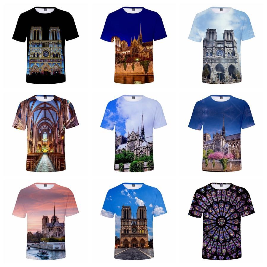 Notre Dame de Paris Print T-shirts Creative 3D Print Summer Men Clothes Casual Short Sleeves Hip Hop T-shirts T-TA788
