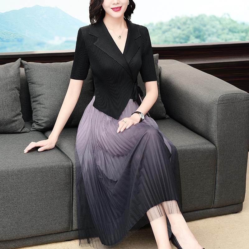 2020 длинная юбка YlHQv Женские длинные юбки новый с короткими рукавами плиссированные французский платье средней длины элегантный талии похудение платье