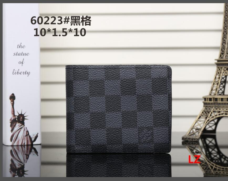 035 envío gratuito nueva bolsa billetera carpeta del diseñador de alta calidad de la tela escocesa de los hombres de las mujeres del modelo de cartera puros de gama alta s