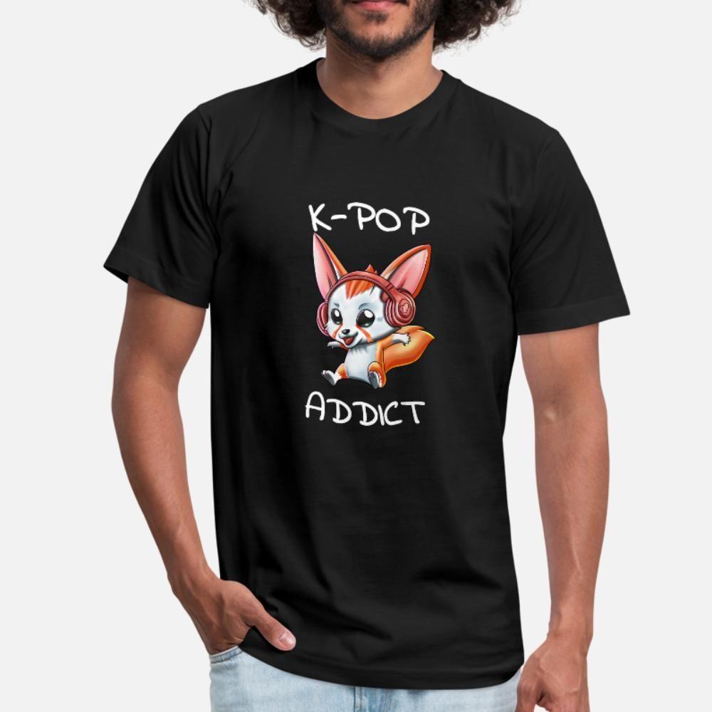 Viciado K Pop Camiseta Homens Personalizar Cotton em torno do pescoço roupa Famoso Casual Shirt Primavera Carta Outono