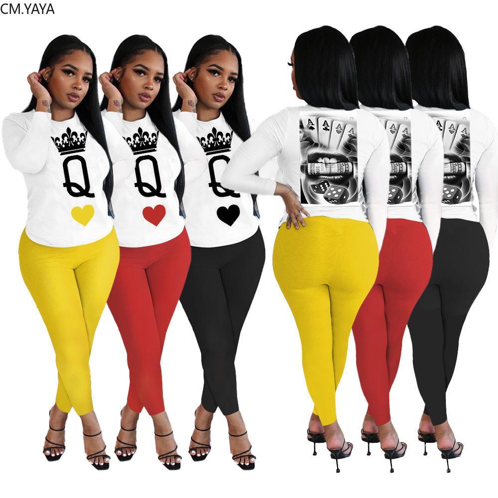 CM.YAYA High Street Kadın Takımı Kraliçe Q Uzun Kollu Tee Sweatpants Jogger Suit Eşofman Eşleştirme Seti kıyafeti 2adet Pantolon Seti X0923 Tops