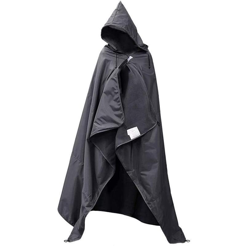 캠핑 방수 따뜻한 담요 다기능 두건이없는 비옷 야외 피크닉 매트 접이식 및 휴대가 쉬운 200x140cm