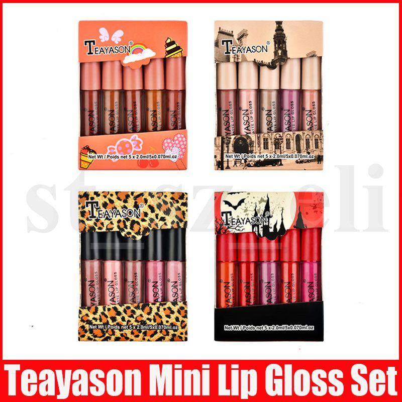 Teayason Lip Makeup Set 5pcs Mini Matte Liquid Lipstick lipkit Lip Gloss Nude Colour Lipgloss Make Up kit 4 Styles