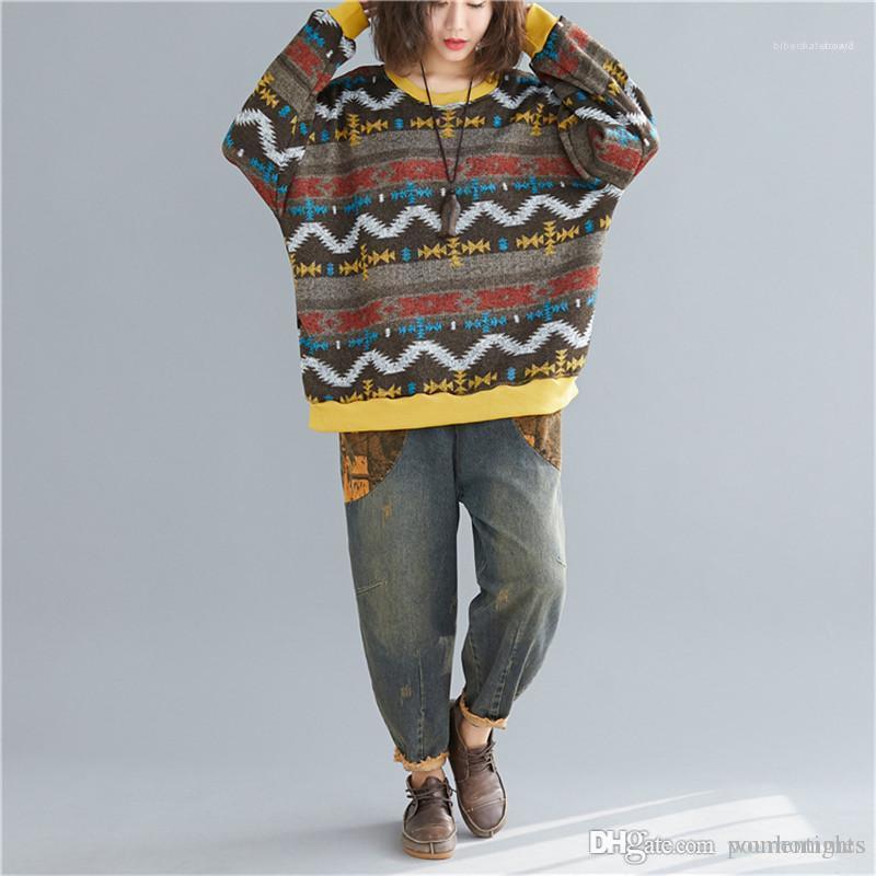 Casual capuz As fêmeas roupa da listra de designers Painéis da forma das mulheres soltas literárias das mulheres Camisolas Estilo Camisolas
