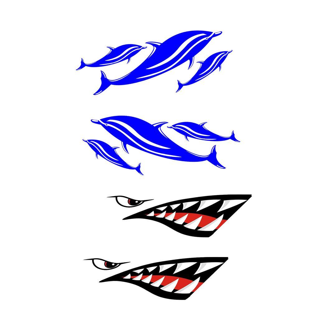 4pack Waterproof Vinyl Fishing Boat Stickers for Kayak Canoe Dinghy Boat