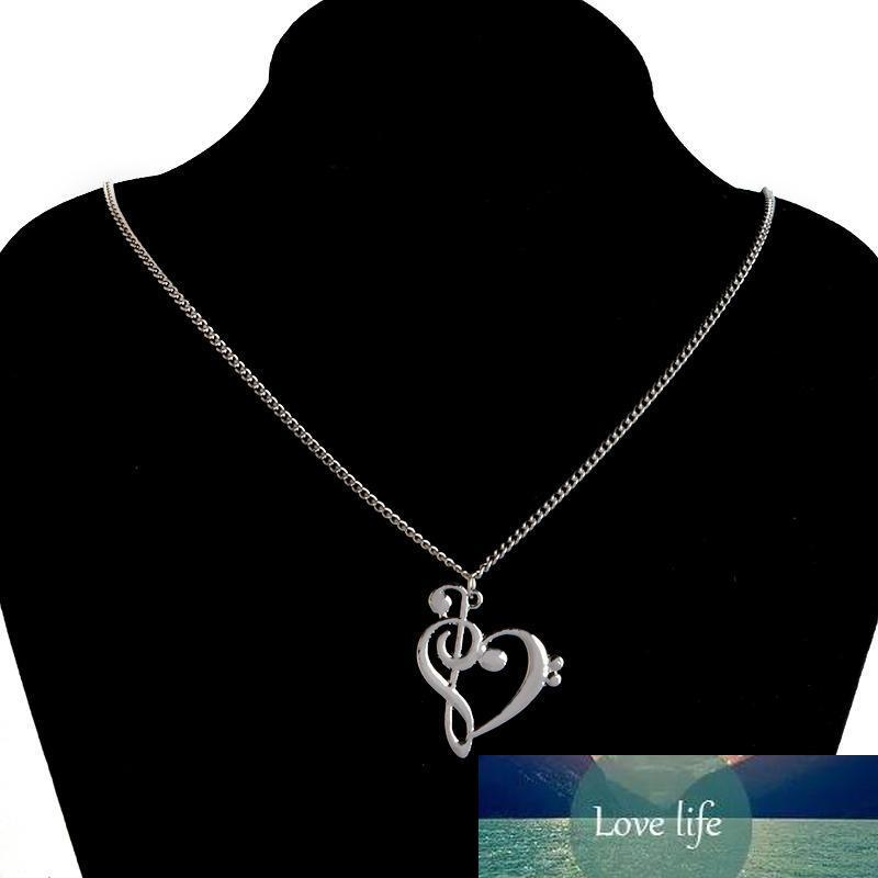 Minimalist Simple Fashion Hollow Heart Shaped Musical Note Pendant Necklace Music Jewelry Gold Silver Special Gift Factory price expert design Quality Latest