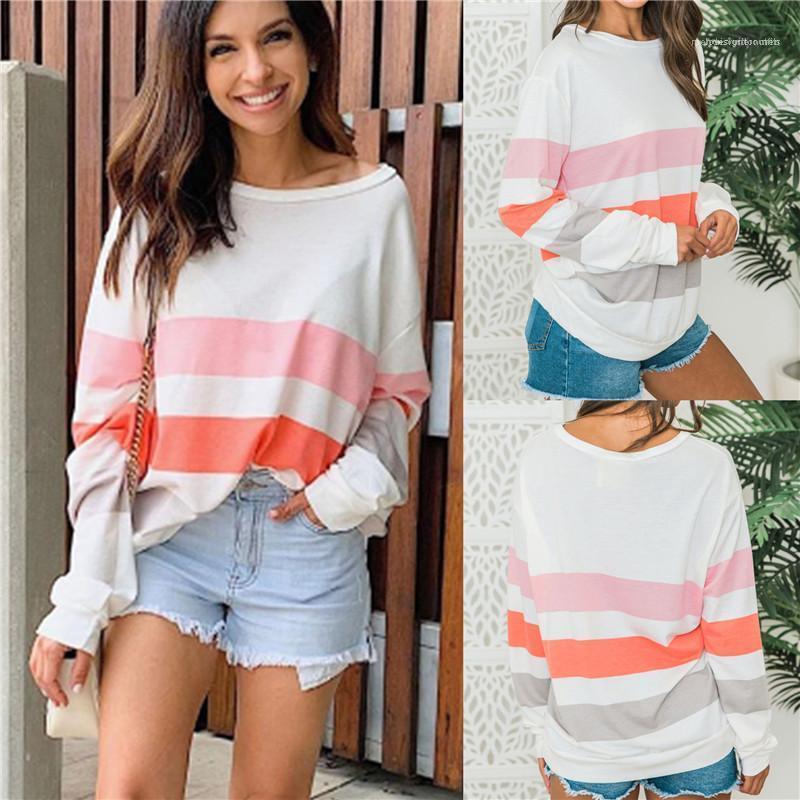 Para mujer rayada Imprimir cuello redondo de las camisetas del contraste del verano flojos del diseñador camisetas de color ocasional de las hembras Tops manga larga Moda