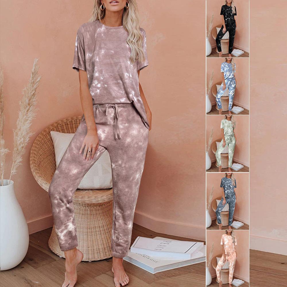 женская дизайнерская одежда из двух частей костюм брюки лето галстук краситель Главная пижамы 45053