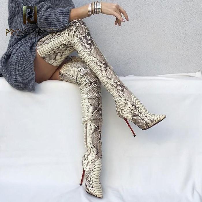 2020 NUEVO LLEGADO SNAKE PIEL Botas largas sobre la rodilla Altas Tacones delgados Botas Slip-On Slim Elastic High Boots Party Sexy