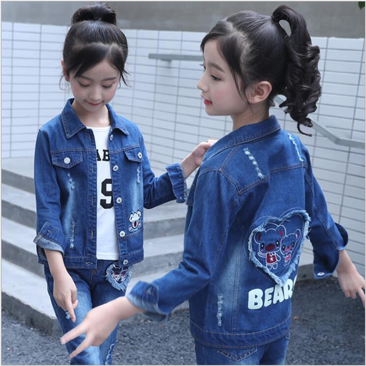 Autumn Denim Jeans Jacket Outfits for Kids Girl Clothes Set Three Piece Top Pant or Skirts T-shirt Retail