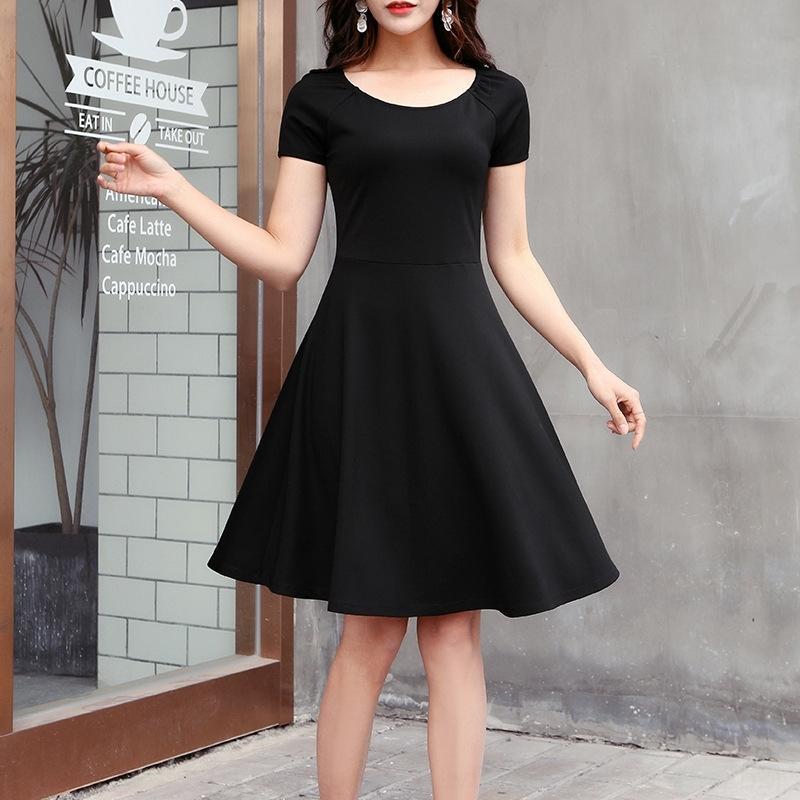 A- FALDA A-Line de IjcnO las mujeres redondas 2020 falda alta de la cintura de las mujeres elegantes del verano de la manga Un Nuevo vestido de cuello línea vestido- pequeña corto negro