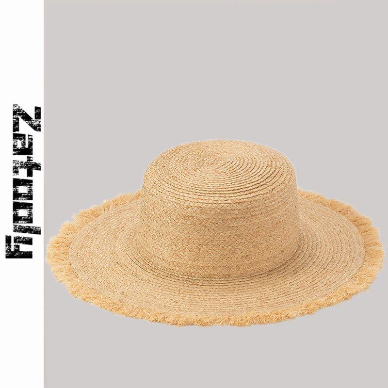 2020 Летней простота тонколистовой Заусенцы Лафит Плоской крыши соломенной шляпа дама Cap Модные Handmade вскользь шлемы Sun для женщин