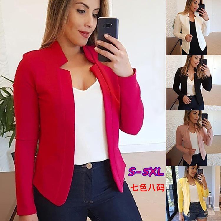 7 컬러 S-5XL 여성 캐주얼 짧은 OL 재킷 정장 코트 슬림 긴 소매는 정장 재킷은 60,222,497,748,729를 Outwears