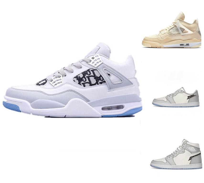 2020 Jumpman 1 1S D Herren-Basketball-Schuhe Chicago Wolf Grau Stickerei 1s Hoch OG 4 4s Segel D Herren-Sport-Trainer-Turnschuhe