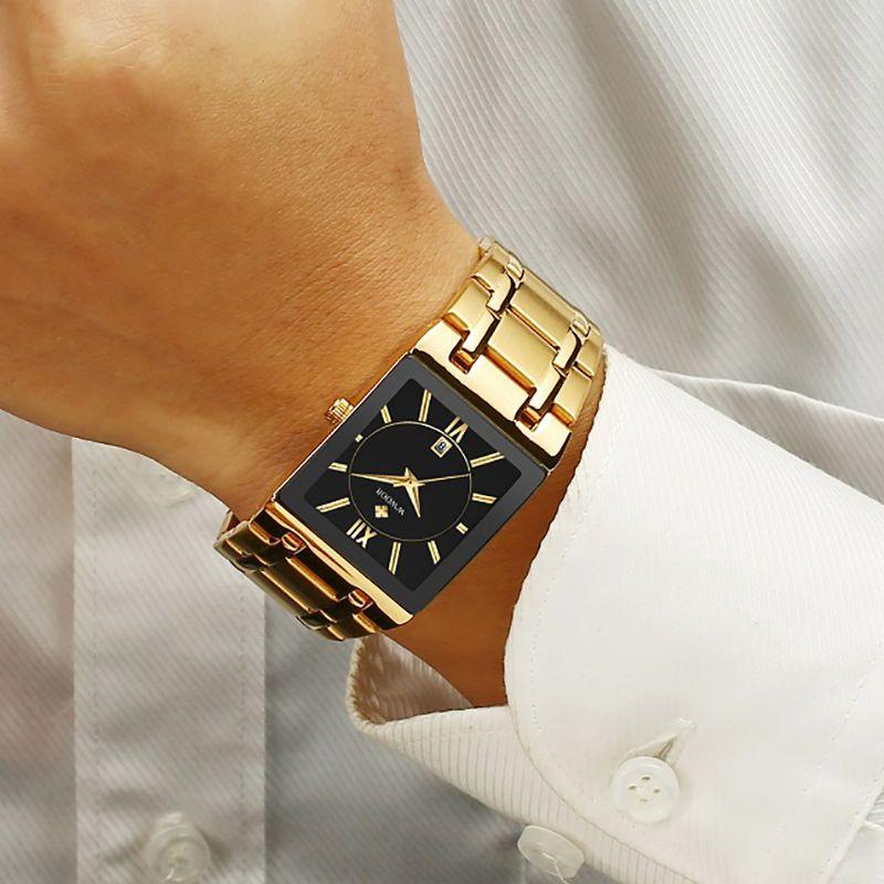 WWOOR Uhren Herren-Top-Goldquadrat-Armbanduhr Männer Geschäfts-Quarz-Stahlband-wasserdichte Uhr-Uhren 2020 hombre