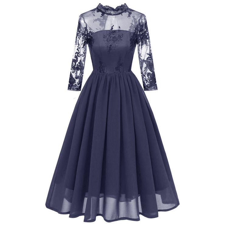 2020 novo Amazon estilo hot meia gola alta vestido de noite bordados rendas malha chiffon de três quartos manga
