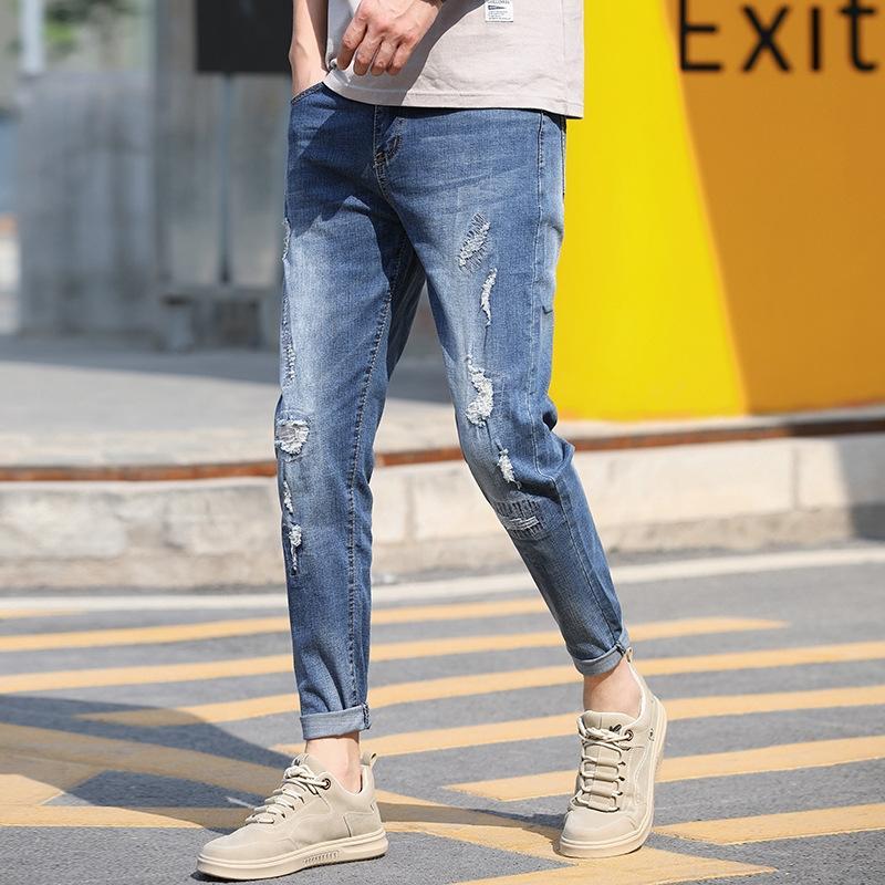 Autumn мужских Stretch Приталенных модные лодыжек брюк мужских случайные щиколотки и джинсы брюк и джинсы брюки jNmcb