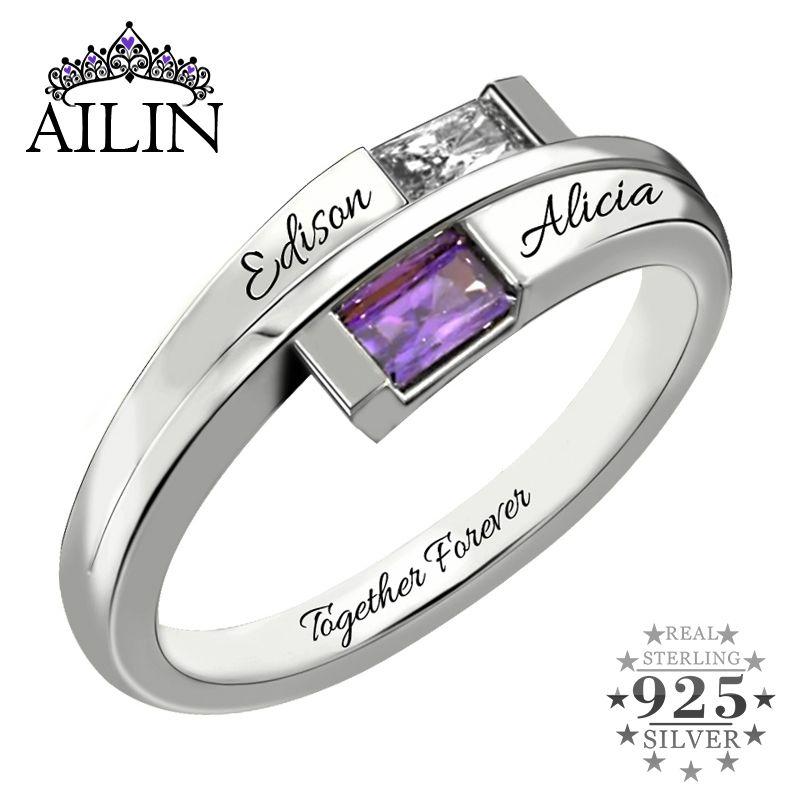 Regalo dei monili AILIN all'ingrosso su ordinazione Anello Argento 925 Birthstone anniversario di nozze Anello Nome Promise Ring della mamma