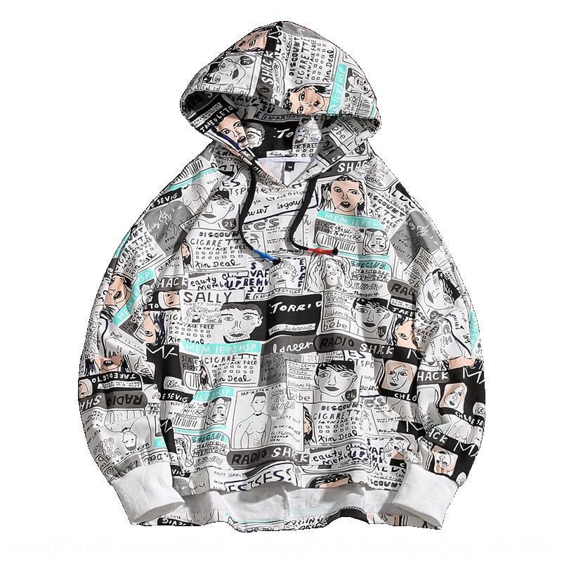 Граффити Top свитер Hoodie свитер мужской моды бренд хип-хоп ручная роспись свободно бф ленивый ветер 2020 осень с капюшоном пуловеры балахон tuC33