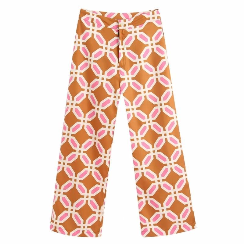 Geometric Vintage Impressão Mulheres Calças retas 2020 de Moda de Nova Lazer Feminino soltos confortáveis Calças P1569 CX200807