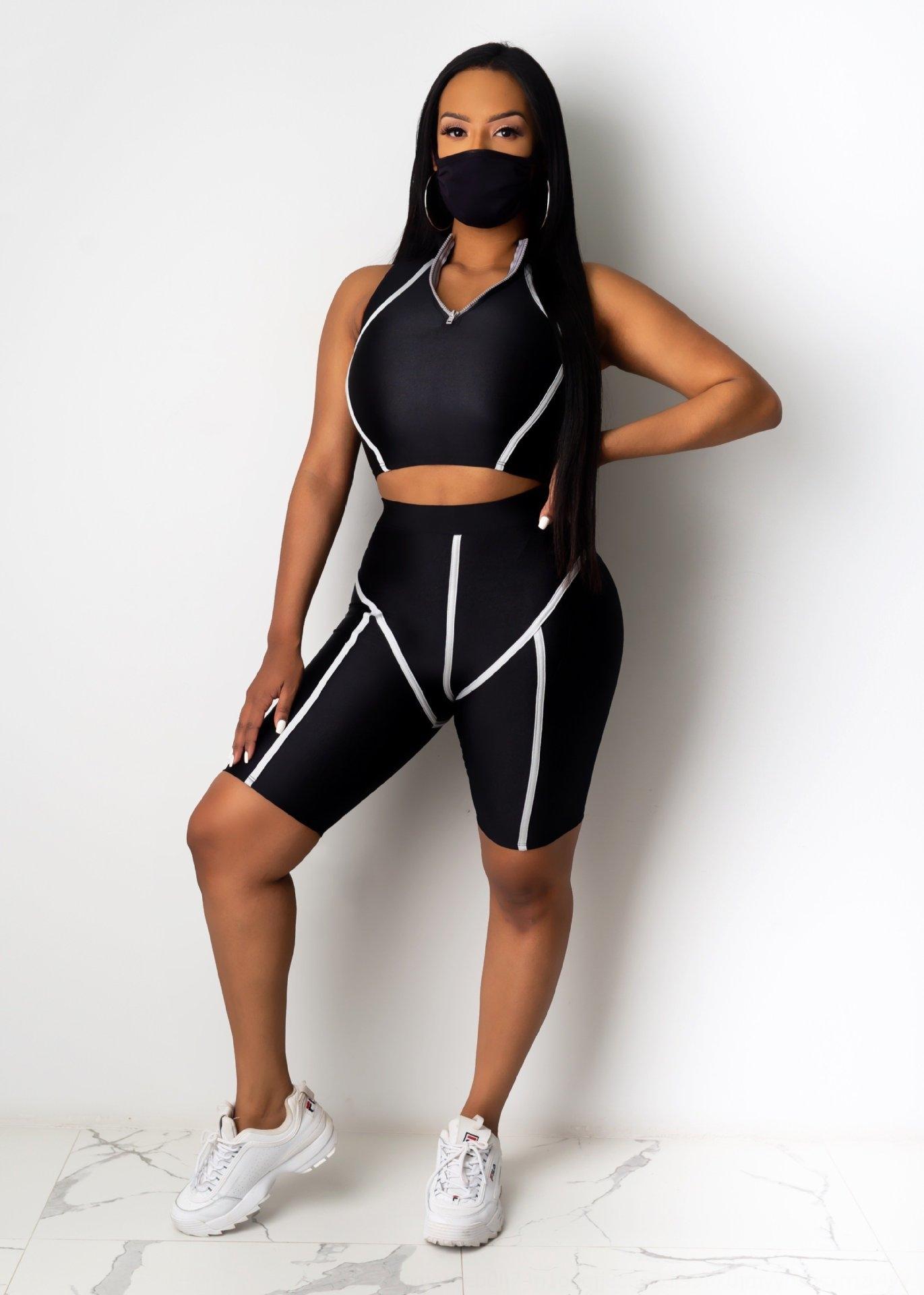 8cqLe 8442 été 2020 WIS Set Top pantalon et un pantalon pantalon masque de couleur trois pièce de femmes de haut niveau solide