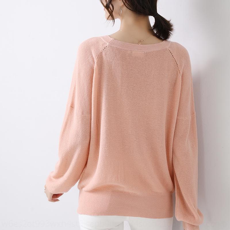 Autunno coreana 2020 di colore maglietta casuale solido semplice girocollo femminile MKhzl SXBwk lavorato a maglia manicotto lungo 50 pullover maglietta pullover%