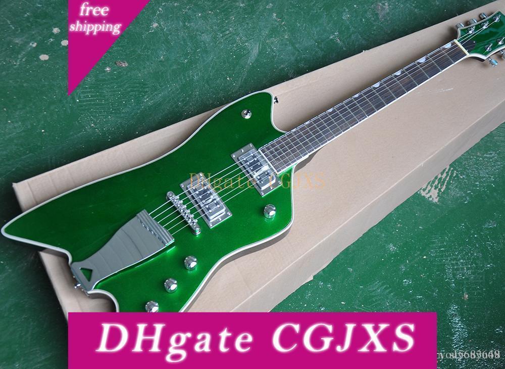 Guitar Grip elétrica verde com ferro, Rosewood Escala, Requisito Branco, 2 Pickups, precisão produção, alta qualidade, serviço personalizado