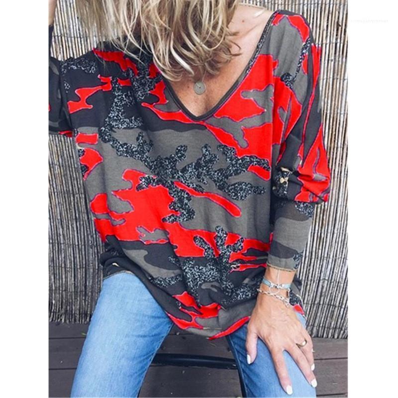 Primavera Sexy cuello en V camisetas de camuflaje Impreso para mujer Tops Vestimenta para mujer