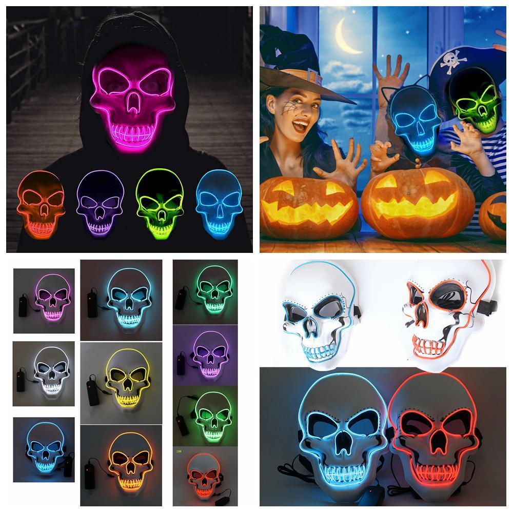 10styles LED Skull Mask Halloween Party Mask luminoso EL luce fredda maschera a pieno per gli uomini donne fantasma Souvenir arredamento partito puntelli FFA4384