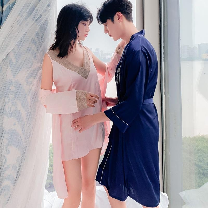 Bretella notte camicia da notte sexy estate insieme a due pezzi homewear seta imitazione paio di nozze la casa abiti maschili delle donne pigiama pigiama Sling