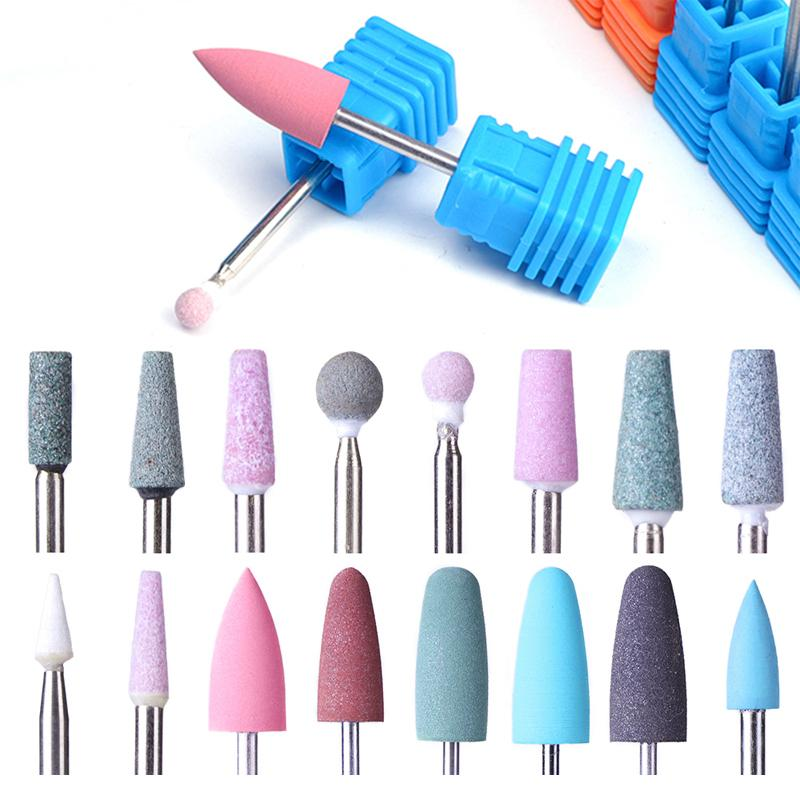 New Opt 16 Type Rubber Silicone Ceramic Milling Burr Nail Art Cutter Polishing Buffer Files Electric Machine Drill Bit