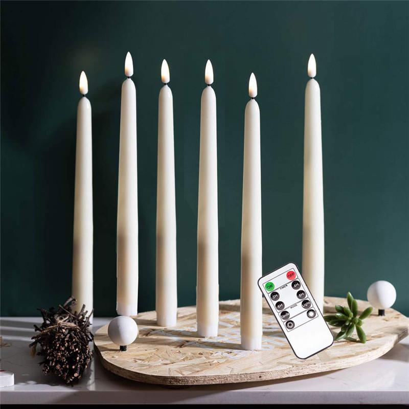 Pack of 6 Remote or not Remote Warm White Battery Taper Candlesticks,Timer Christmas Window Electronic Candles For Wedding Event Y200531