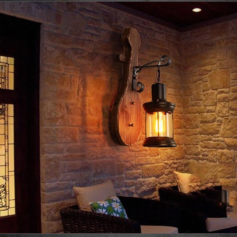 Lámpara de pared de cristal de la vendimia de madera LED apliques industriales dormitorio del accesorio ligero de noche restaurante Loft Inicio Corredor decoración de la pared Luz 1Z5r #